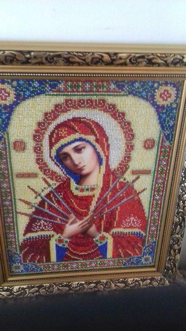 Ікона Семистрельная ручная работа вышивка бисером