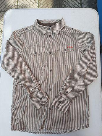 Сорочка на 11-12 років на хлопця з довгими рукавами котонова в смужку