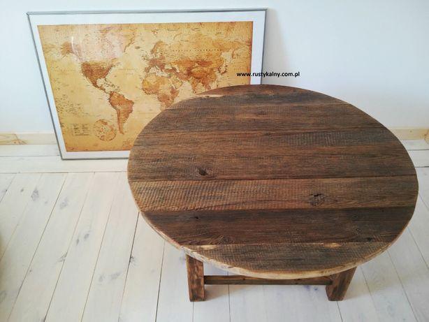 Stolik kawowy Okrągły Stare Drewno