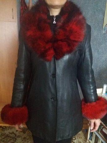 Натуральная кожаная куртка-пиджак осень-зима с утепленной подкладкой 4
