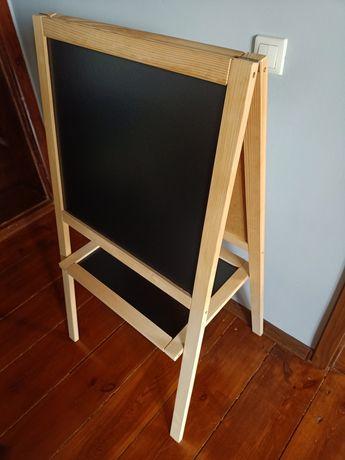 Duża drewniana tablica dwustronna kredowa kredowo magnetyczna stojaca