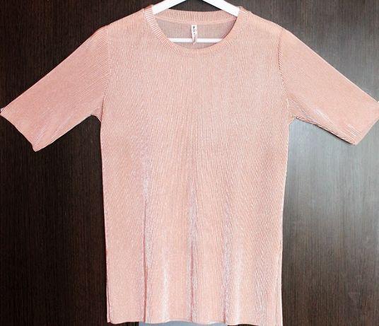Bluzka pudrowy róż plisowana satynowa rozmiar L