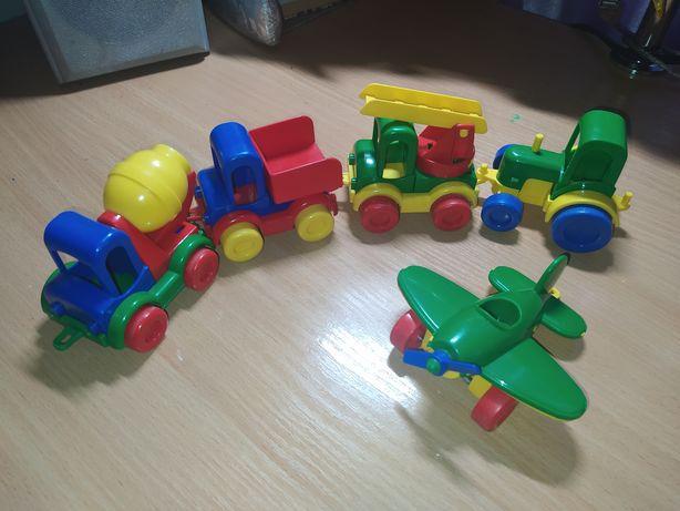 Машинки, строительная техника, самолет, грузовик, бетономешалка, кран