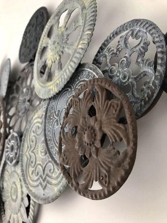 Dekoracja ścienna, metal, koła, tryby szare, obraz, loft industrial