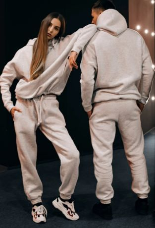 Костюм мужской, женский спортивный зимний Oversize серый Худи толстовк