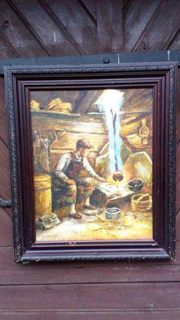 Obraz olejny chlopca w starej chacie