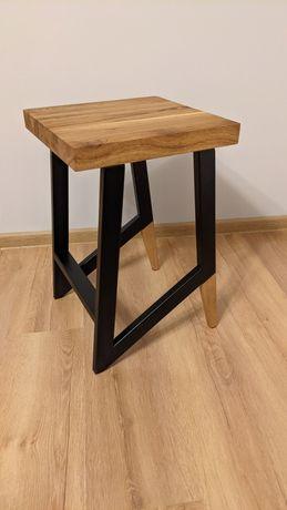 Taboret stołek hoker Loft Industrial stal drewno dąb na zamówienie