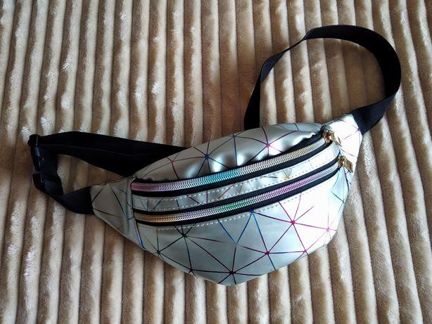 Бананка/сумка на пояс/поясная сумка/голограмма/серая