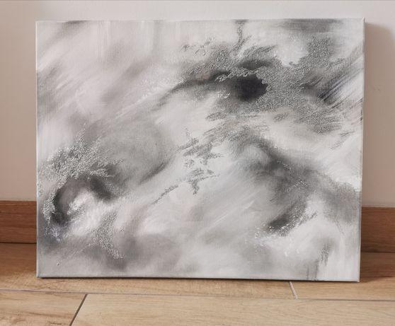 Obraz ręcznie malowany 40x50cm płótno , Abstrakcja marmur z brokatem