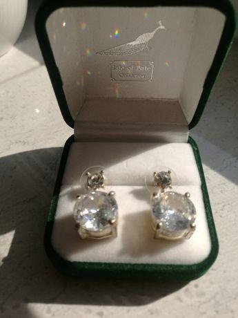 Srebrne kolczyki damskie z krysztalem