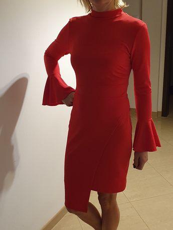 Sukienka koralowa czerwień S