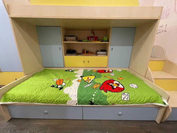 Детская двухъярусная кровать + шкаф-ступени + 2 матраса в подарок