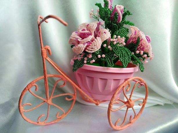 Велосипед с розами Romantic из бисера/ Подарок /8 марта
