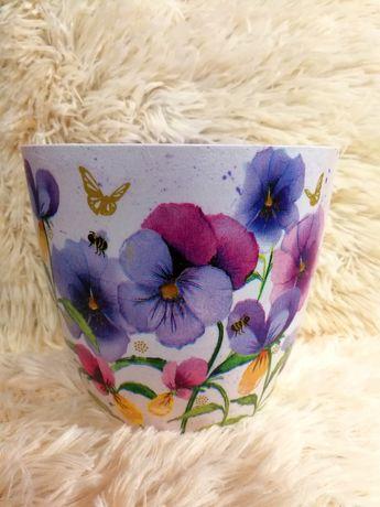 Osłonki na donice doniczki folk kwiaty decoupage rękodzieło handmade
