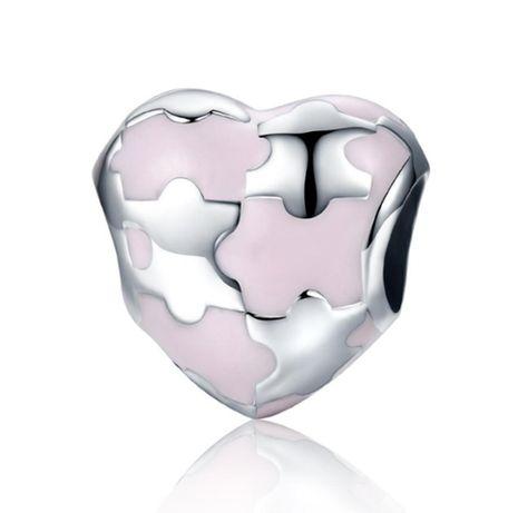 Charms PANDORA srebro 925 serce puzzle miłość różowa emalia