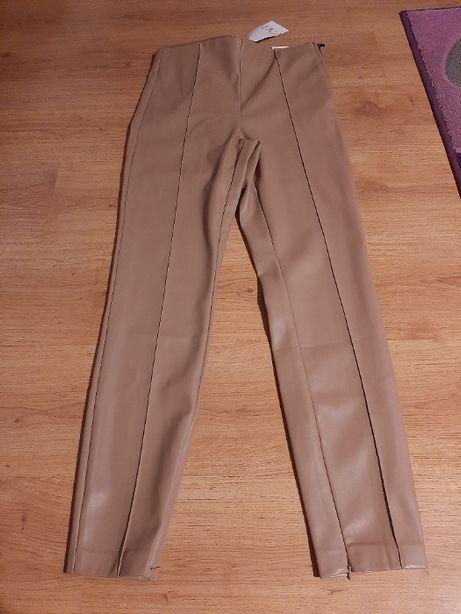 spodnie ZARA karmel sztuczna skóra 38 L