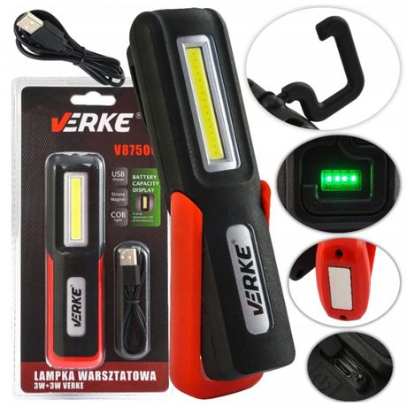 Latarka Warsztatowa USB LED COB 3+3 VERKE