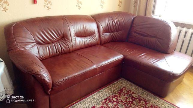 kanapa skórzana z funkcją spania