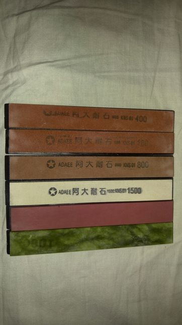 Камни бруски для заточки ножа типа Apex 6шт 180-10000 грит