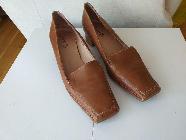 Buty półbuty czółenka ze skóry, skórzane r.39