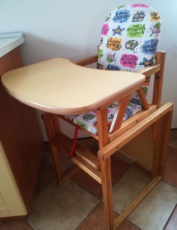 Krzesełko do karmienia drewniane 2w1