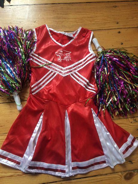 Sukienka chilliderka Disney +akcesoria 128 czerwono- biała połyskująca