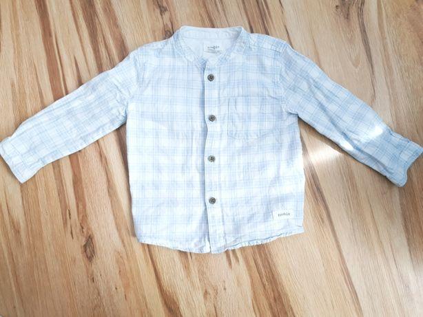 Newbie 80 koszula elegancką w kratkę dla chłopca ze stójką