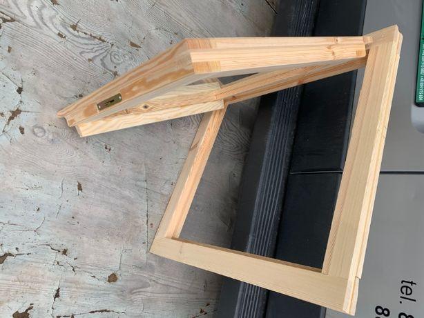 Okna drewniane lite sosnowe 60x60 OD RĘKI Kris Okna i Drzwi Drewniane