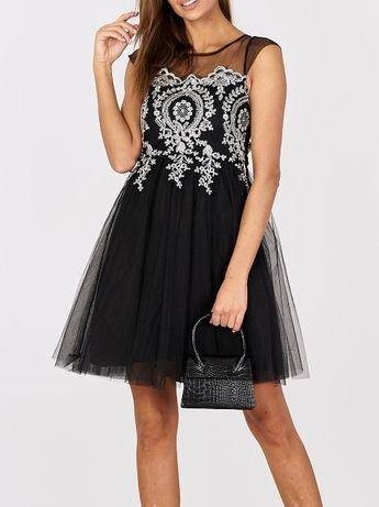 Piękna stylowa rozkloszowana sukienka tiulowa z haftem uni HIT !!