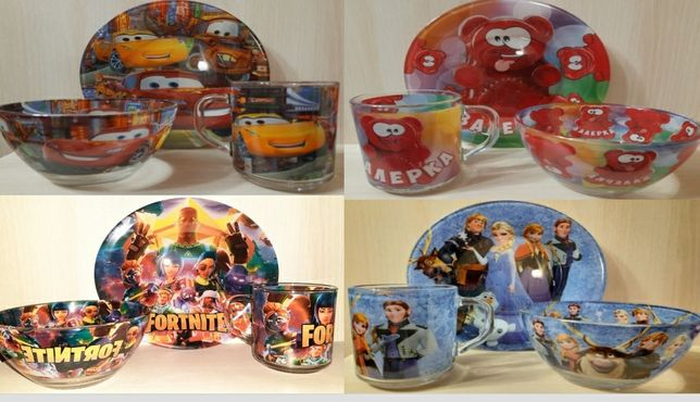 Детские наборы посуды в стиле разных мультфильмов