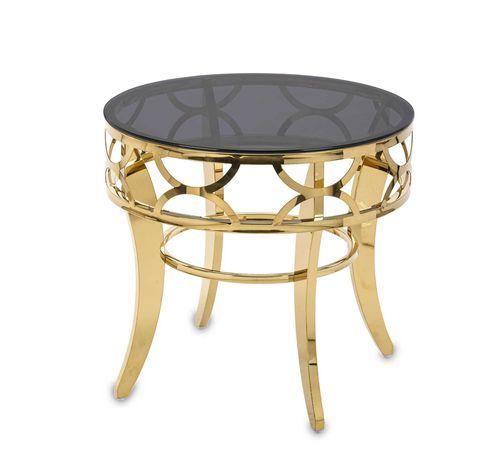 Nowoczesny stolik kawowy złoty pomocniczy boczny 60 cm