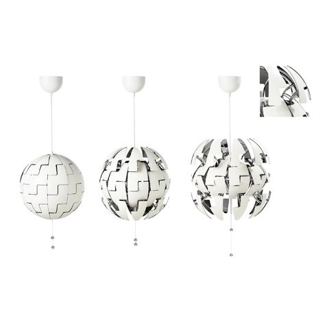 Srebrna! Ikea PS 2014 Lampa wisząca, biały/srebrny 35 cm