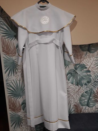 Alba komunijna dla dziewczynki 134 cm świeca, wianek, torebka