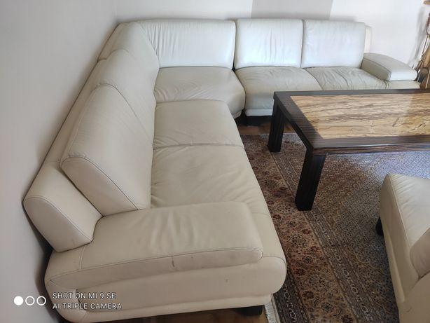 Skórzany komplet wypoczynkowy narożnik 265/265 + fotel