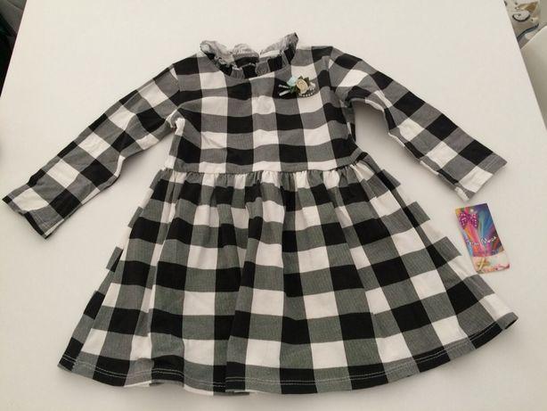 Vestido criança xadrez preto e branco