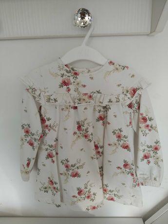 Sprzedana Sukienka Newbie r86 biała kwiaty róże falbanka