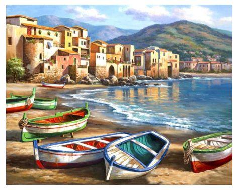 """Namaluj obraz sam - """" łódki na piasku Italia"""" do malowania po numerach"""