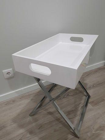 Tabuleiro decorativo, branco lacado