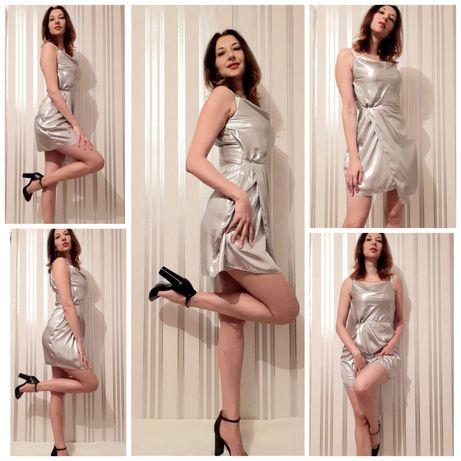Платье серебро.Новое.Розмер М