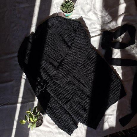 Чорний в'язаний кардиган, черный вязаный кардиган, свитер