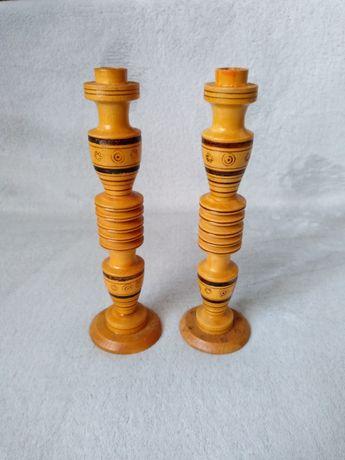 Stare drewniane świeczniki Cepelia PRL