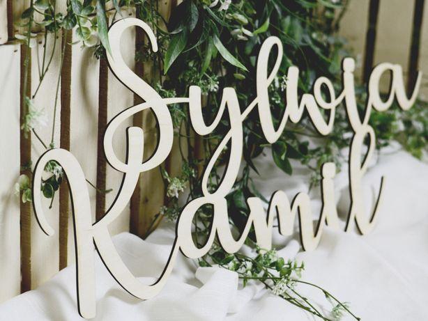 Napis Imiona Pary Młodej drewniane na ściankę ślub wesele
