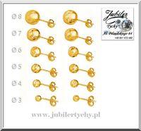Złote kolczyki kuleczki gładkie kule złoto Au 585 kulki Jubiler Tychy