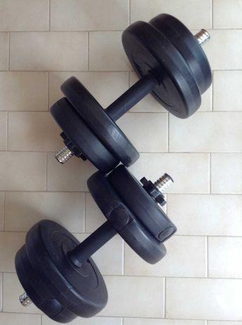 Discos + Barra de Musculação 20 Kgs