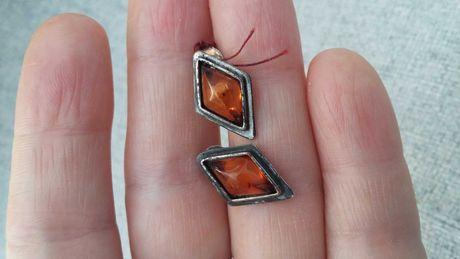 Biżuteria PRL - srebro kolczyki WARMET z bursztynem