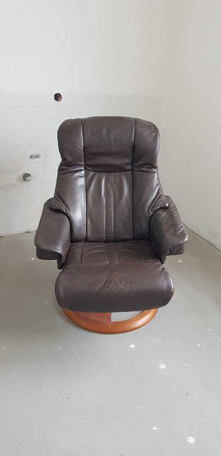 Skórzany fotel obrotowy z regulacją