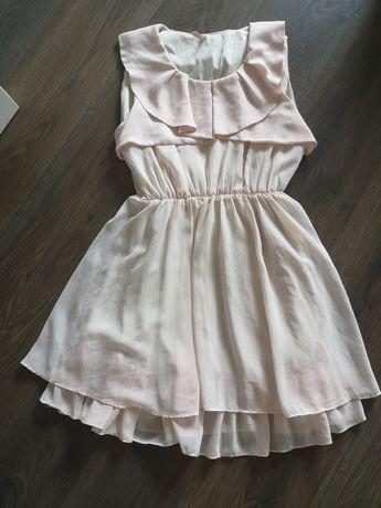 Sukienka pudrowy róż falbany S sweewe PARIS