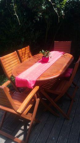 Składane ,drewniane Teak meble ogrodowe ,Stół i 6 krzesel