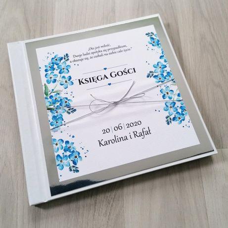 Księga gości na wesele niezapominajki srebrne lustro