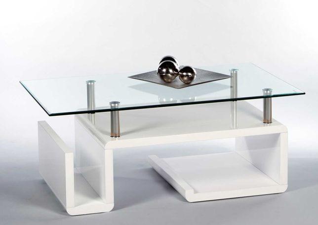 Stolik Kawowy NOWY , Ława , Biały wysoki połysk - Blat szklany 8 mm